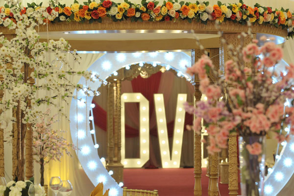 Asian wedding table centrepieces and decoration hire