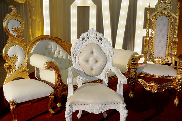 Asian wedding throne hire & chaise longue hire