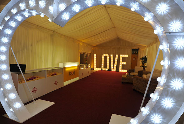 Illuminated heart walkway for weddings