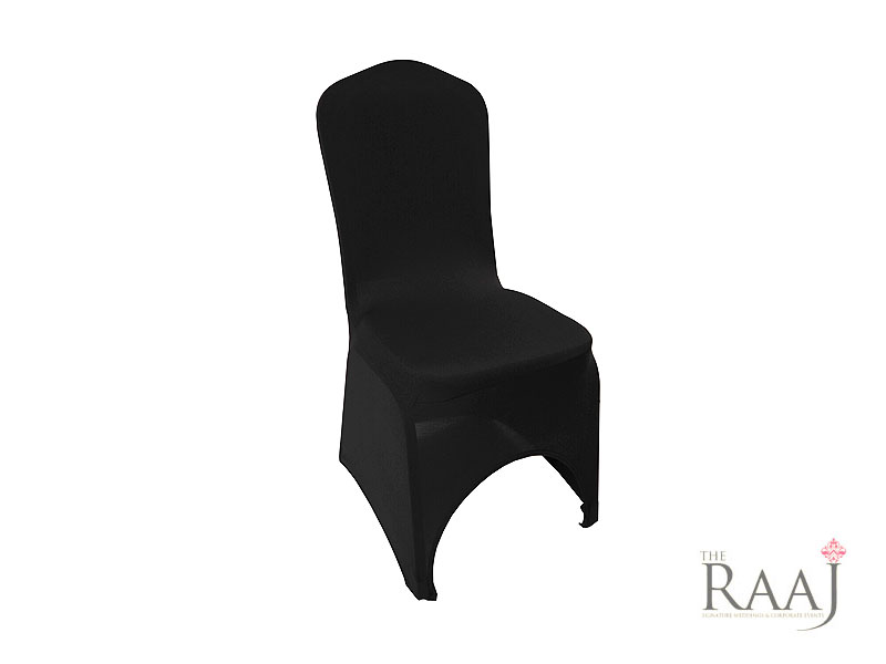 High Arch Black Lycra Chair Cover Hire