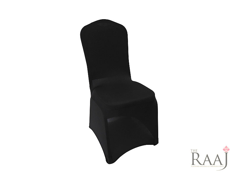 Low Arch Black Stretch Chair Cover Hire
