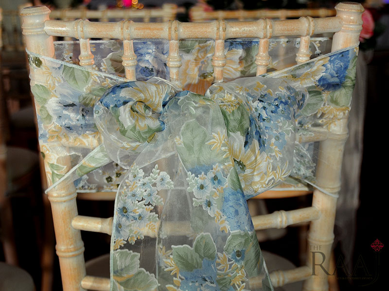 Blue Floral Chair Tie Hire