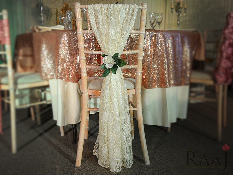 Patterned Ivory Chair Sash
