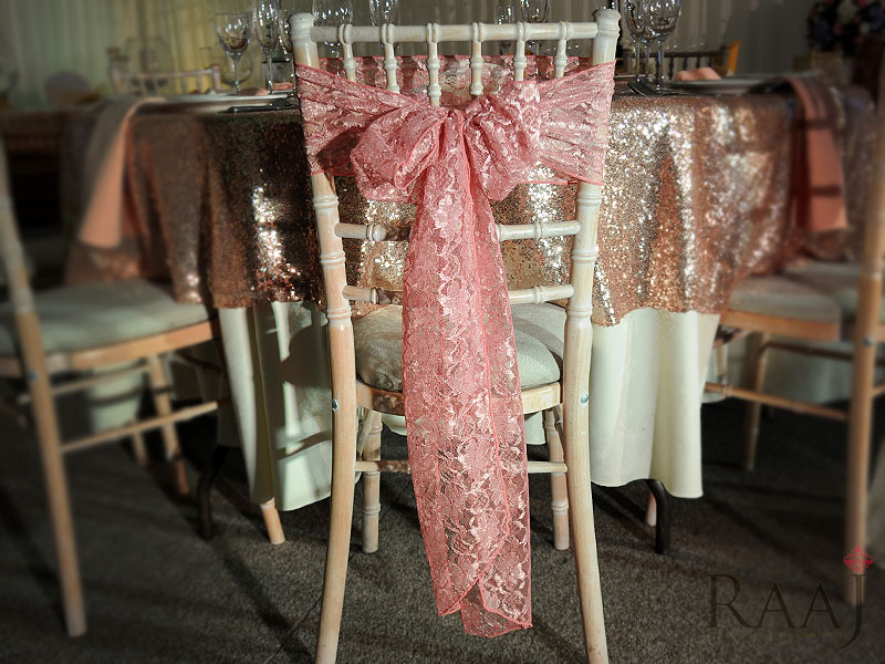 Patterned Pink Chair Sash Hire