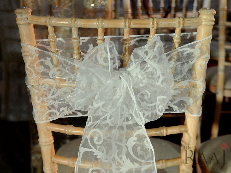 Patterned White Chair Sash Hire