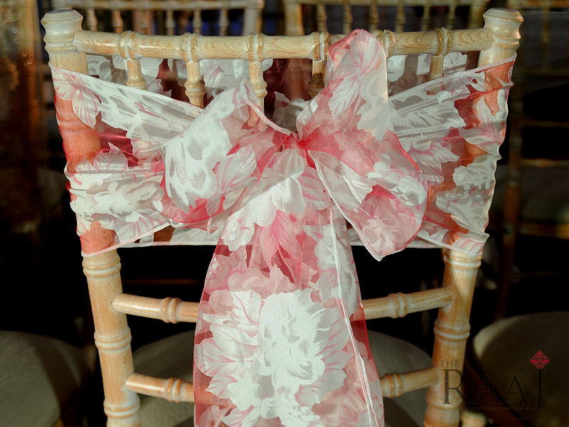 Pink Floral Chair Tie Hire