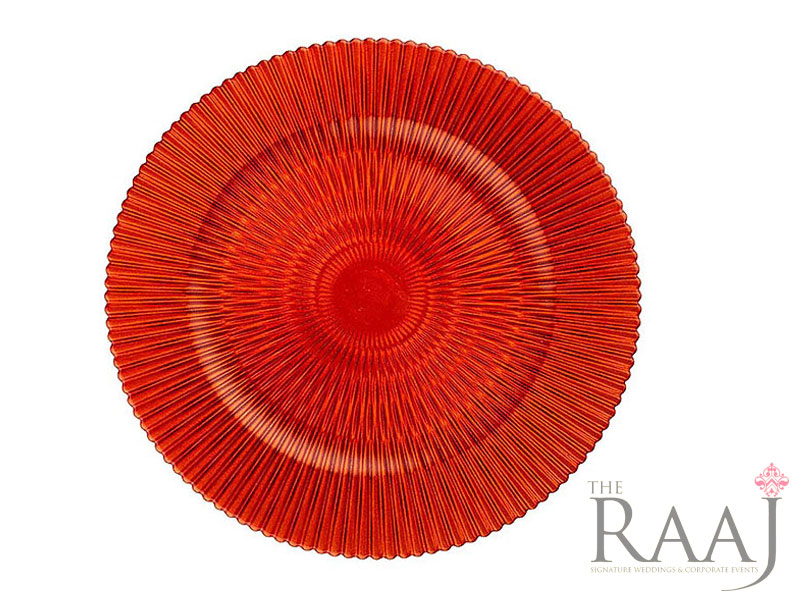 Red Patterned Glass Charger Plates