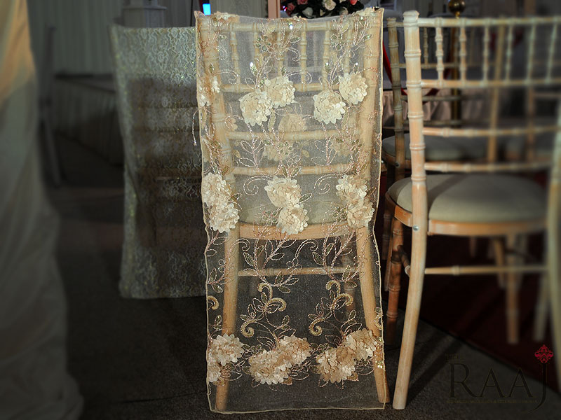 Silk Floral Chair Back Cover Hire