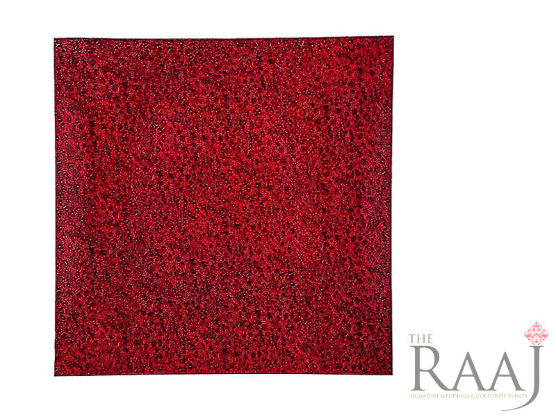 Square Red Glass Charger Plates