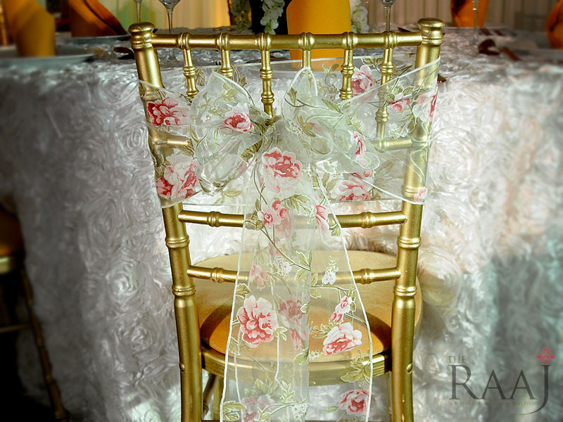 White Floral Chair Sash Hire