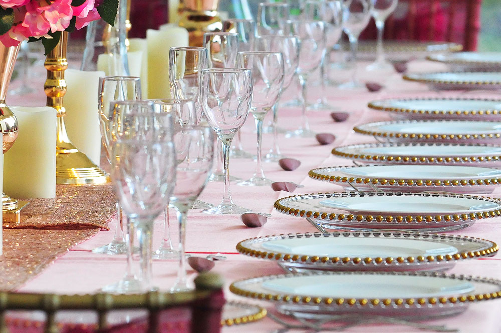 Asian Wedding Gold Beaded Plates