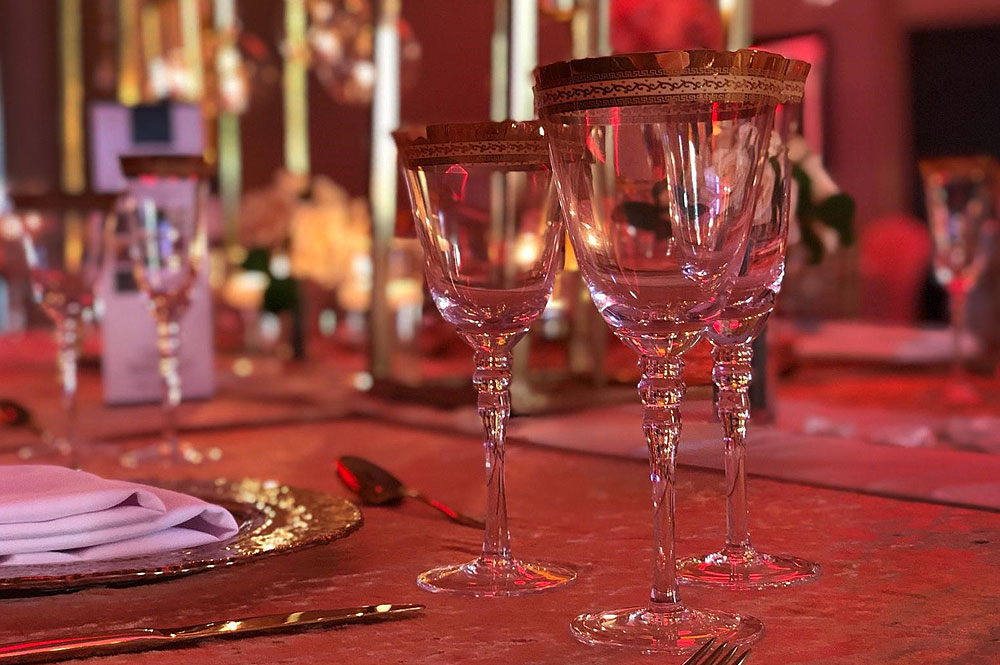Gold Rimmed Glassware Hire For Asian Weddings