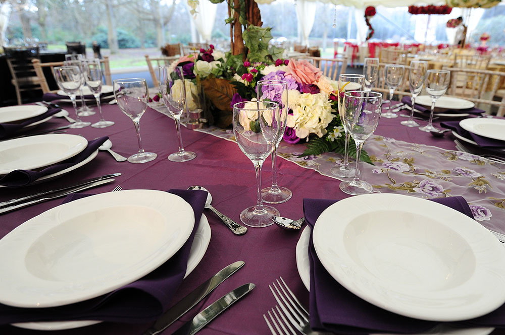 Purple Themed Wedding Table Hire